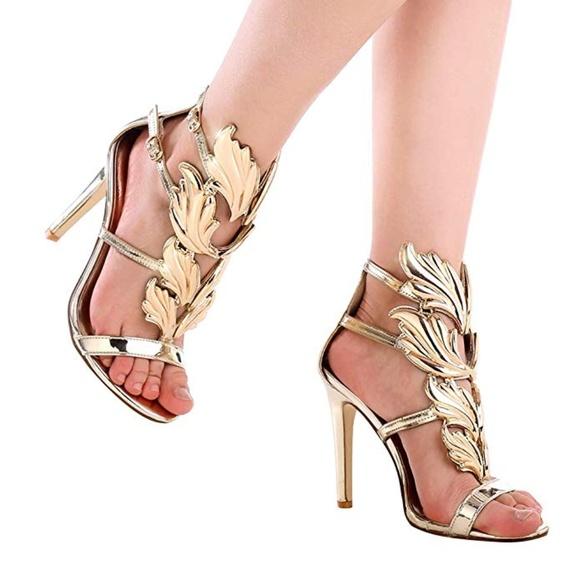 c24617cd3fa6 Women s High Heel Gladiator Gold Party Stiletto s